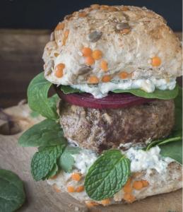 Lamb burger with Mint Dressing